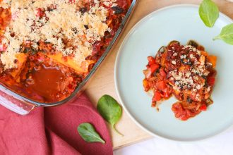 Pompoen lasagne met vegan cheese